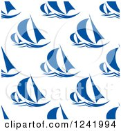 Clipart Of A Seamless Sailboat Background Pattern Royalty Free Vector Illustration