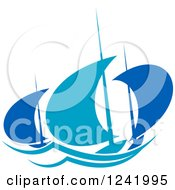 Clipart Of Regatta Sailboats In Blue 4 Royalty Free Vector Illustration