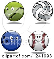 Clipart Of A Happy Tennis Ball Volleyball Bowling Ball And Baseball Royalty Free Vector Illustration by Seamartini Graphics
