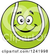 Clipart Of A Smiling Tennis Ball Royalty Free Vector Illustration by Seamartini Graphics