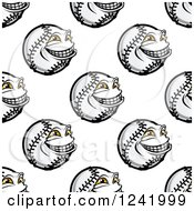 Clipart Of A Seamless Grinning Baseball Background Pattern Royalty Free Vector Illustration