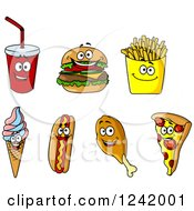 Clipart Of Happy Fast Food Characters Royalty Free Vector Illustration