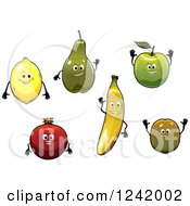 Clipart Of Happy Fruit Characters Royalty Free Vector Illustration by Seamartini Graphics