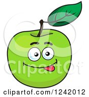 Clipart Of A Goofy Green Apple Royalty Free Vector Illustration
