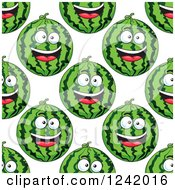 Clipart Of A Seamless Background Pattern Of Happy Watermelons 3 Royalty Free Vector Illustration