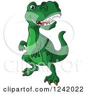 Clipart Of A Green Tyrannosaurus Rex Dinosaur Royalty Free Vector Illustration