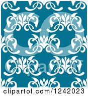 Clipart Of A Seamless White And Blue Floral Background Pattern Royalty Free Vector Illustration by Seamartini Graphics