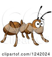 Clipart Of A Happy Brown Ant Royalty Free Vector Illustration by Seamartini Graphics