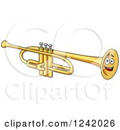 Clipart Of A Smiling Trumpet Royalty Free Vector Illustration