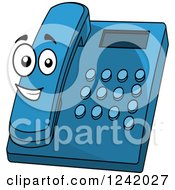 Clipart Of A Happy Blue Desk Telephone Royalty Free Vector Illustration