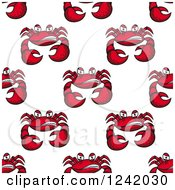 Clipart Of A Seamless Mad Crab Background Pattern Royalty Free Vector Illustration