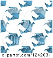 Clipart Of A Seamless Blue Origami Dove Background Pattern Royalty Free Vector Illustration by Seamartini Graphics