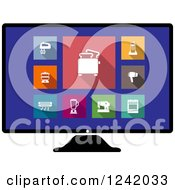 Clipart Of A Computer Screen With Colorful Appliance Icons Royalty Free Vector Illustration