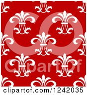 Clipart Of A Seamless White And Red Floral Background Pattern Royalty Free Vector Illustration by Seamartini Graphics