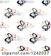 Clipart Of A Seamless Colorful Music Note Background Pattern Royalty Free Vector Illustration