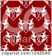 Clipart Of A Seamless Red And White Floral Heart Background Pattern Royalty Free Vector Illustration by Seamartini Graphics