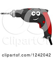 Clipart Of A Happy Power Drill Royalty Free Vector Illustration