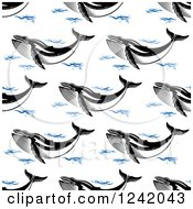 Clipart Of A Seamless Baleen Whale And Waves Background Pattern Royalty Free Vector Illustration