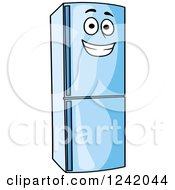 Clipart Of A Happy Blue Refrigerator Royalty Free Vector Illustration by Seamartini Graphics