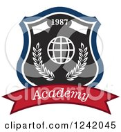 Clipart Of A 1987 Academy Shield With A Globe Royalty Free Vector Illustration by Seamartini Graphics