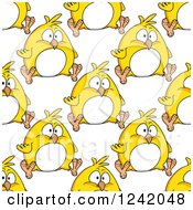 Clipart Of A Seamless Chubby Yellow Chick Background Pattern Royalty Free Vector Illustration