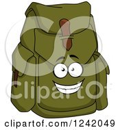 Clipart Of A Happy Green Canvas Backpack Royalty Free Vector Illustration