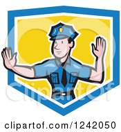 Clipart Of A Cartoon Male Police Man Gesturing To Stop In A Shield Royalty Free Vector Illustration by patrimonio