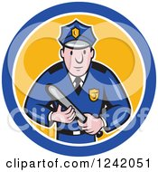 Clipart Of A Cartoon Male Police Man Holding A Baton In A Circle Royalty Free Vector Illustration