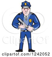 Clipart Of A Cartoon Male Police Man Holding A Baton Royalty Free Vector Illustration