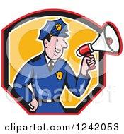 Cartoon Male Police Man Using A Megaphone In A Shield