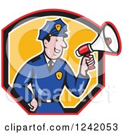 Clipart Of A Cartoon Male Police Man Using A Megaphone In A Shield Royalty Free Vector Illustration