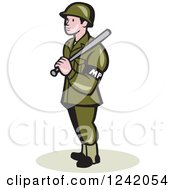 Clipart Of A Cartoon Military Police Officer With A Baton Royalty Free Vector Illustration by patrimonio
