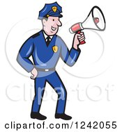 Clipart Of A Cartoon Male Police Man Using A Megaphone Royalty Free Vector Illustration