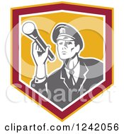 Clipart Of A Retro Male Police Officer Or Security Guard Shining A Flashlight In A Shield Royalty Free Vector Illustration