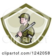 Clipart Of A Cartoon Military Police Officer With A Baton In A Green Shield Royalty Free Vector Illustration