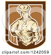 Retro Woodcut Male Baker With A Mixing Bowl In A Crest