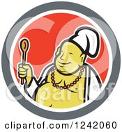 Happy Chef Buddha Holding A Wooden Spoon In A Circle