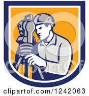Clipart Of A Retro Male Surveyor Using A Theodolite In A Blue And Yellow Shield Royalty Free Vector Illustration