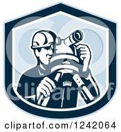 Retro Male Surveyor Using A Theodolite In A Blue Shield