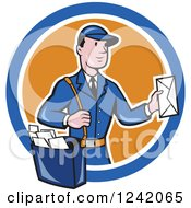 Clipart Of A Cartoon Mailman Holding Out An Envelope In A Circle Royalty Free Vector Illustration