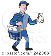 Clipart Of A Cartoon Mailman Holding Out An Envelope Royalty Free Vector Illustration by patrimonio