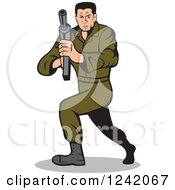 Clipart Of A Cartoon Army Soldier Man With A Sub Machine Gun Royalty Free Vector Illustration