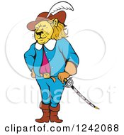 Clipart Of A Cartoon Lion Musketeer Royalty Free Vector Illustration by patrimonio