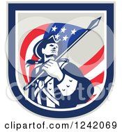 Clipart Of A Retro American Revolutionary Soldier Patriot Minuteman With A Flag In A Crest Royalty Free Vector Illustration