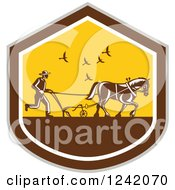 Clipart Of A Retro Farmer And Horse Plowing A Field In A Shield Royalty Free Vector Illustration