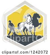 Clipart Of A Retro Farmer And Horses Plowing A Field In A Diamond Royalty Free Vector Illustration