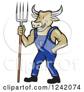 Clipart Of A Cartoon Bull Cow Farmer With A Pitchfork And Overalls Royalty Free Vector Illustration