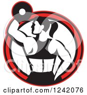 Clipart Of A Retro Black And White Fit Woman Working Out With A Dumbbell In A Red Circle Royalty Free Vector Illustration
