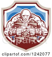 Clipart Of A Muscular Strongman Working Out With Chains And Dumbbells In A Shield Royalty Free Vector Illustration by patrimonio