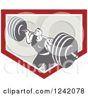 Clipart Of A Retro Bodybuilder Doing Squats With Dumbbells In A Shield Royalty Free Vector Illustration